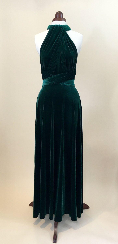 Grünes Samtkleid, Infinity-Kleid, Brautjungfer Kleid ...