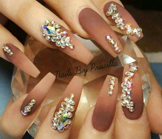 Objective Extra Long Hand Painted False Nails Pink 3d Flowers Diamonds Ombre Shimmering Terrific Value Artificial Nail Tips