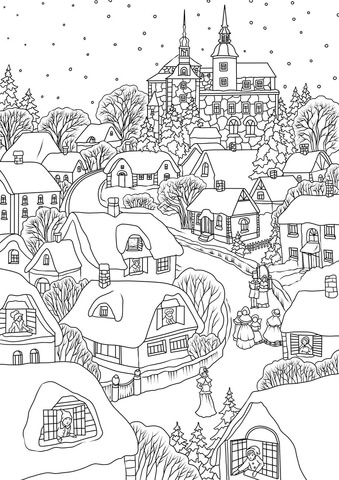 Snowy Village On Christmas Eve Coloring Page Free Printable Coloring Pages Christmas Coloring Books Free Printable Coloring Pages Detailed Coloring Pages