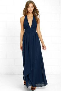 91dda9a0968b Lovely Navy Blue Dress - Maxi Dress - Halter Dress -  84.00
