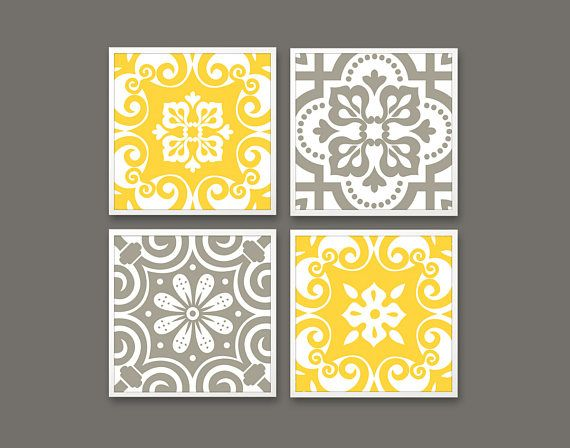 Gray Yellow Geometric Pattern Gray Yellow Tiles Printable Yellow Tile Yellow Wall Art Tile Patterns