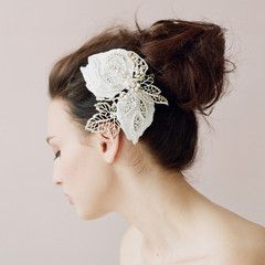 Lace and sparkle leaf hair clip - Style # 412 - Ready to Ship