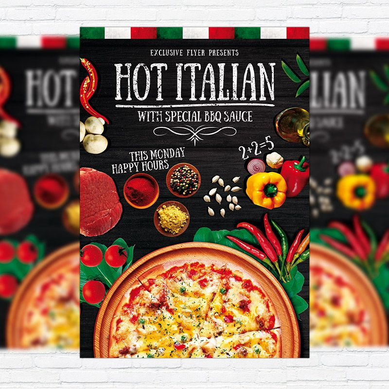 Hot Pizza - Premium Flyer Template + Facebook Cover http ...