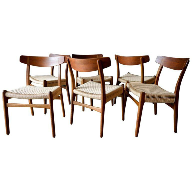 1960s Vintage Hans Wegner Ch23 Oak Dining Chairs Set Of 6 On