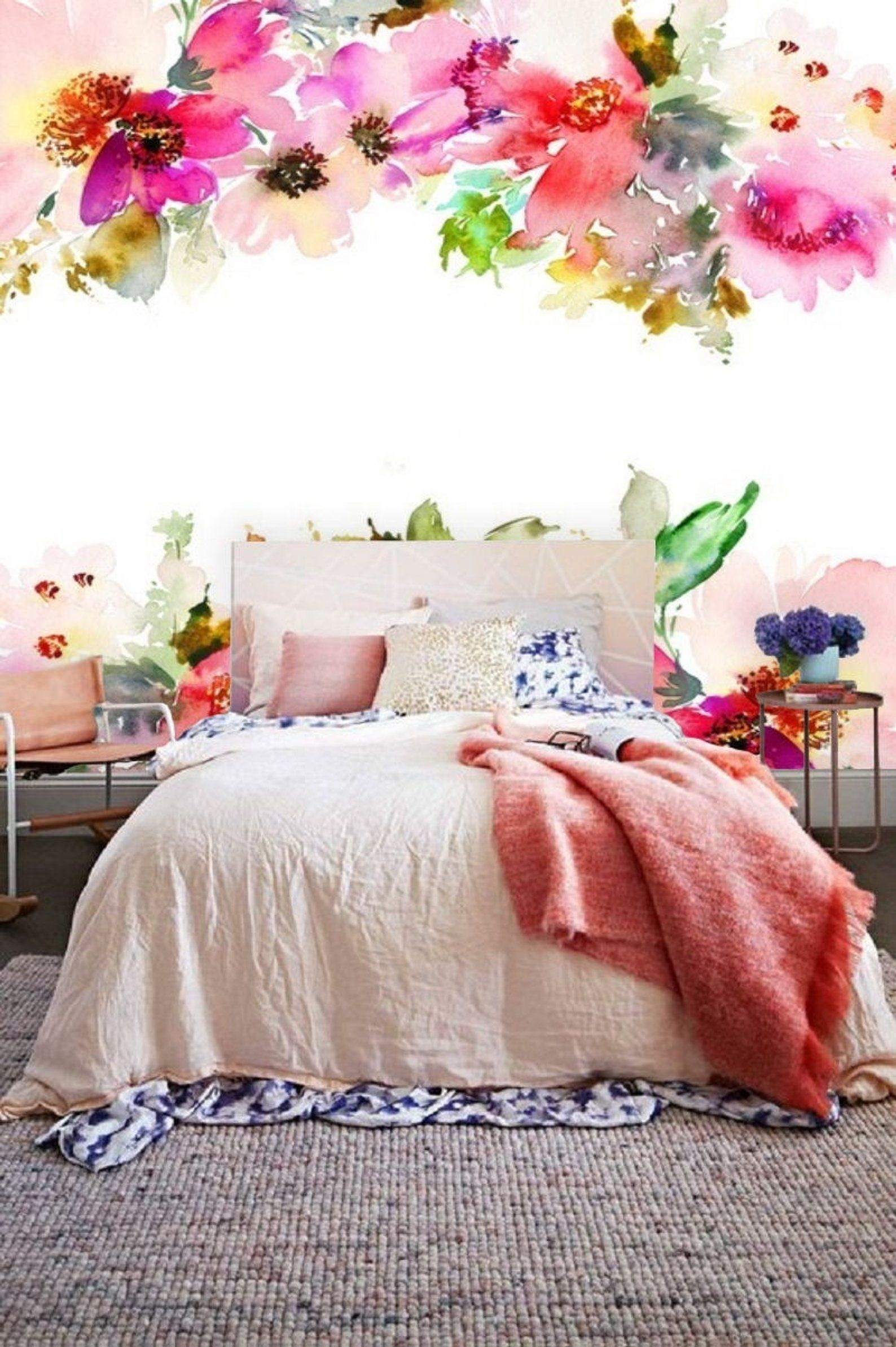 Floral wall mural, self adhesive removable wallpaper