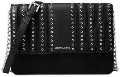 213f1f1d4cb1 Michael Kors Brooklyn Grommet Large Leather Crossbody Bag - Black -  32F6ABHC3S-001