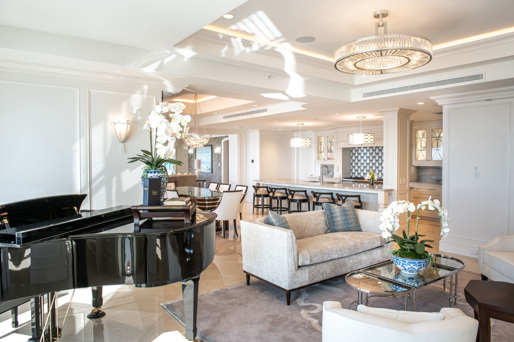 Coastal Elegance Living Room With Baby Grand Piano Michelle