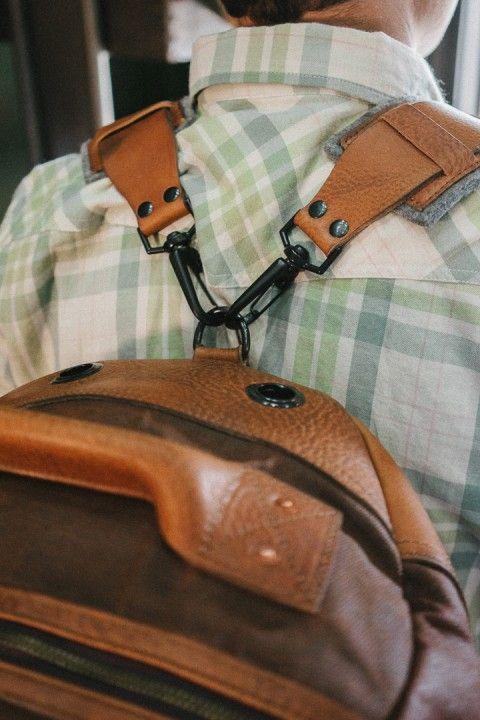 Dakota Waxed Canvas Duffle Bag Backpack - Russet Brown w  Saddle Tan ... 9fcc640924271