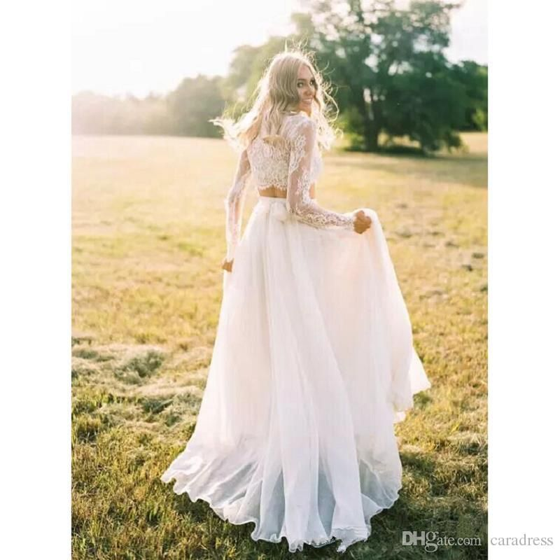 Elegant Two Pieces Lace Wedding Dresses Plus Size Bohemian Long Sleeves Lace Crop Top Chiffon Skirt Crop Top Wedding Dress Lace Top Wedding Top Wedding Dresses