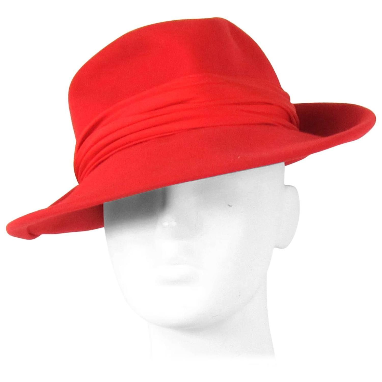 0cd7b2121c9 Vintage 1960s Red Wool Fedora Hat