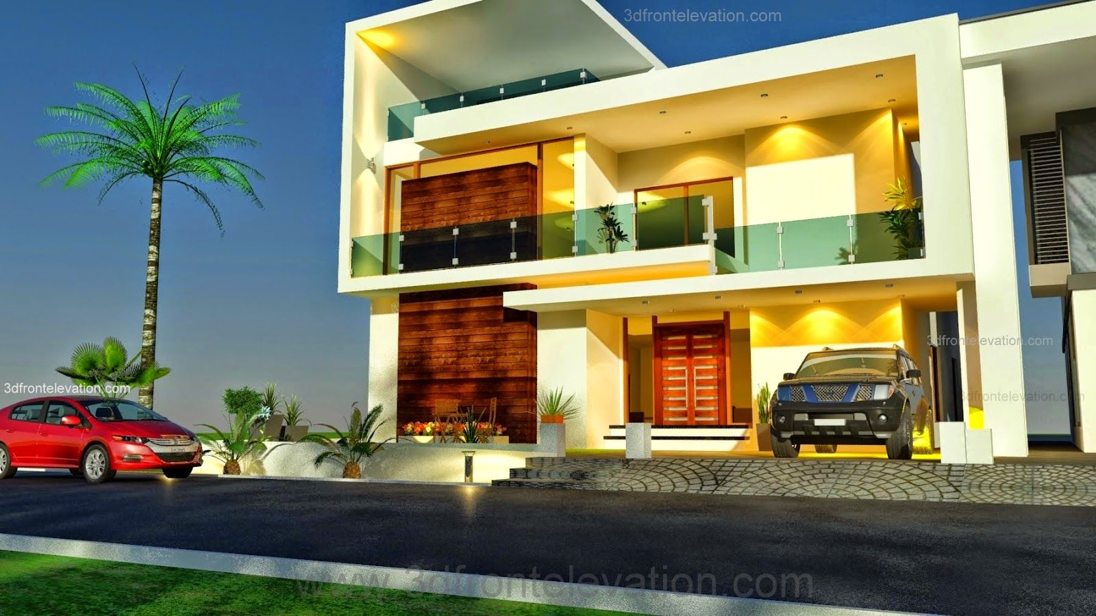 Modern home design 2014 of 3d front elevation com 1 kanal for Front elevation modern house