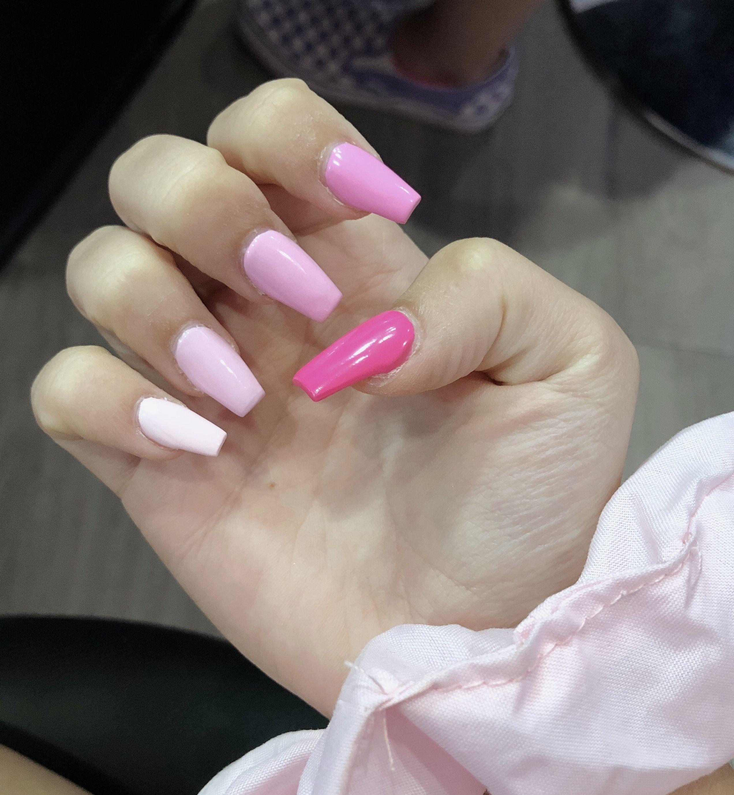 Hot pink acrylic nails | Pink acrylic nails, Acrylic nails