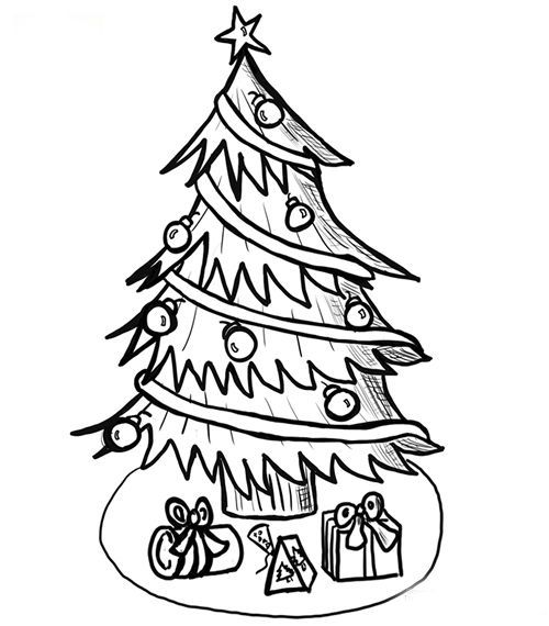 Present These Christmas Tree Coloring Pages To Your Kids And Children To Let Them Be Part Of Y Christmas Tree Drawing Christmas Tree Art Christmas Tree Sketch