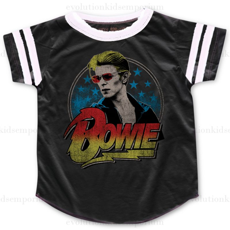 Rowdy Sprout Black Bowie Varsity Tee: Designer Kids Clothes   Shop our Boutique for Cool Children's Clothing