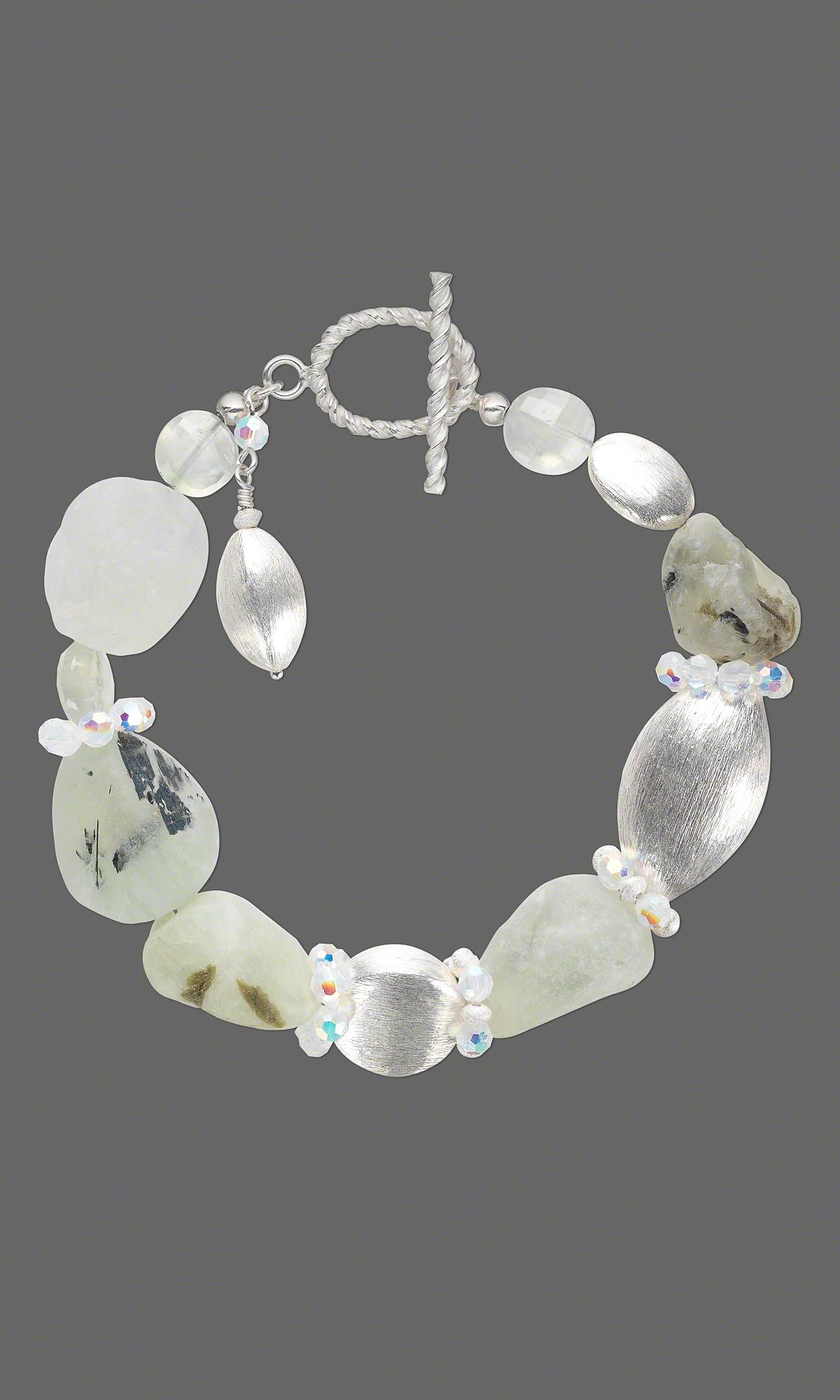 Jewelry design bracelet with sterling silver brushed beads
