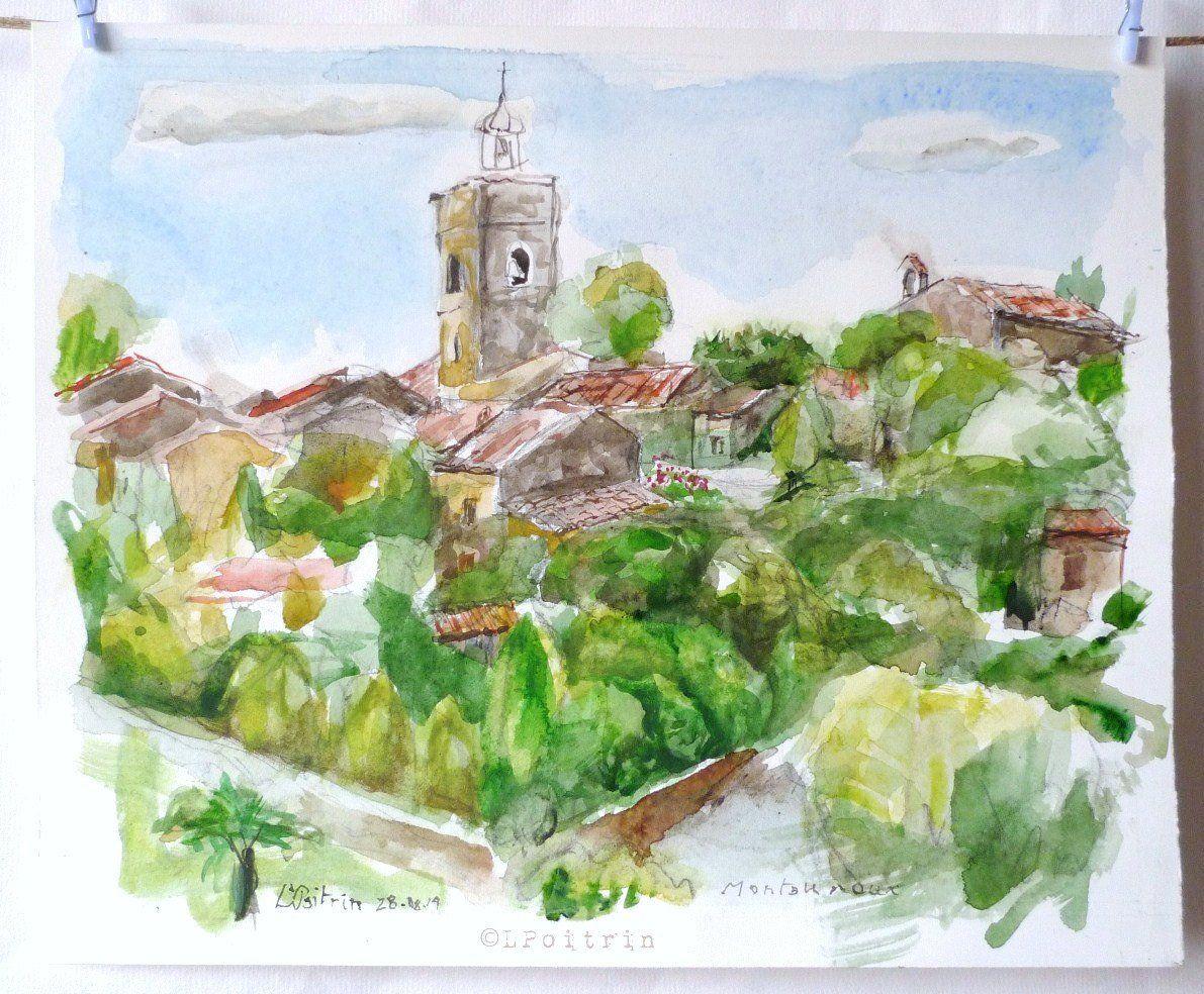 Provence Aquarelle Originale Village En Provence Etsy Aquarelle