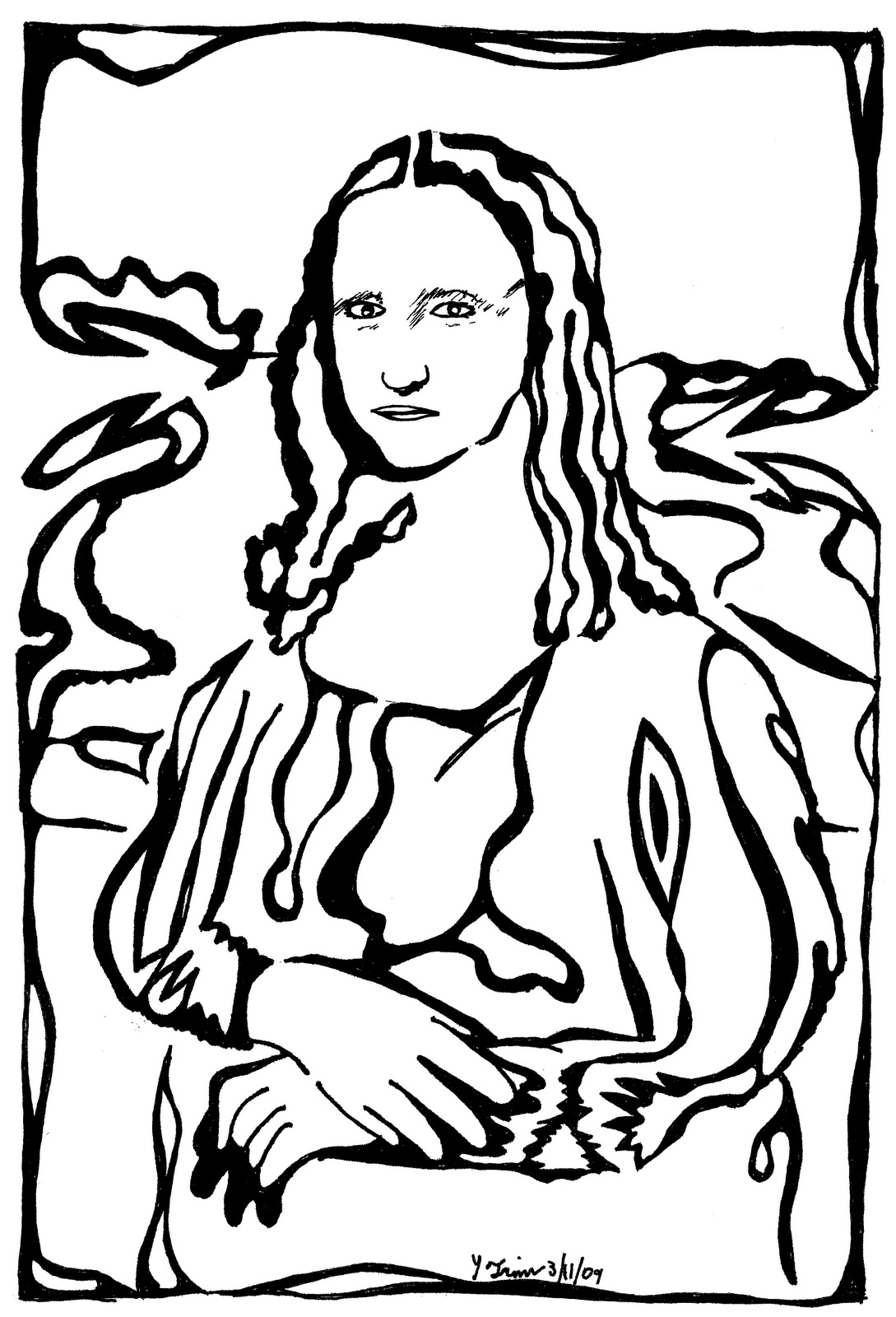 Mona Lisa Coloring | pages | Pinterest | Mona lisa and Lisa