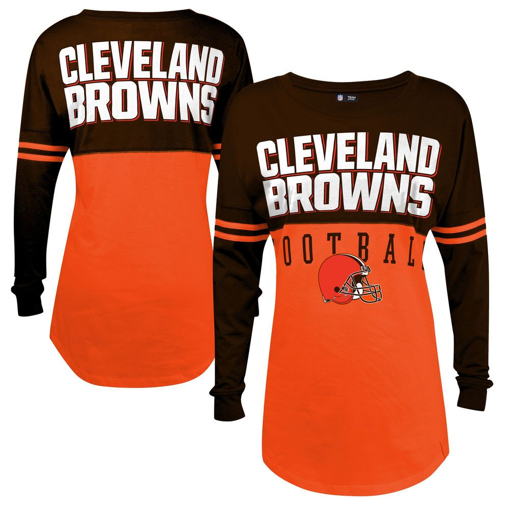 new product 51720 72421 Women's Cleveland Browns 5th & Ocean by New Era Orange Baby ...