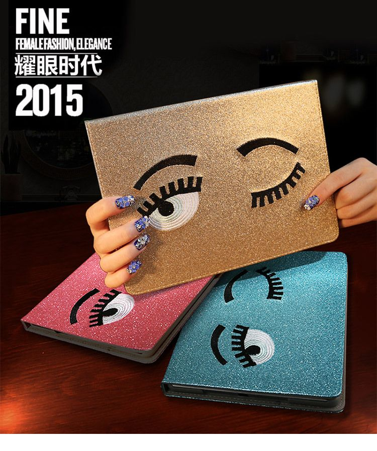 Protective Case for iPad Air 2 Winking Eyes PU Leather 2 Folio with Built-in Magnet Features Auto Wakeup/Sleep Function All-New