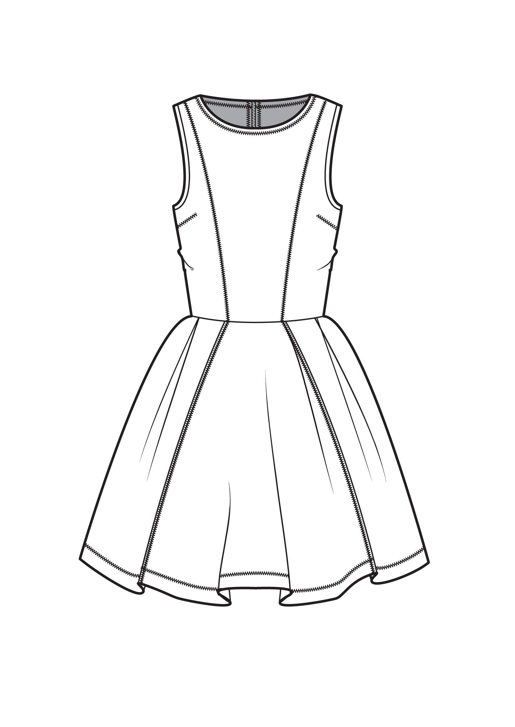 Line Art Fashion Design : Fit and flare dress fashion flat drawings pinterest