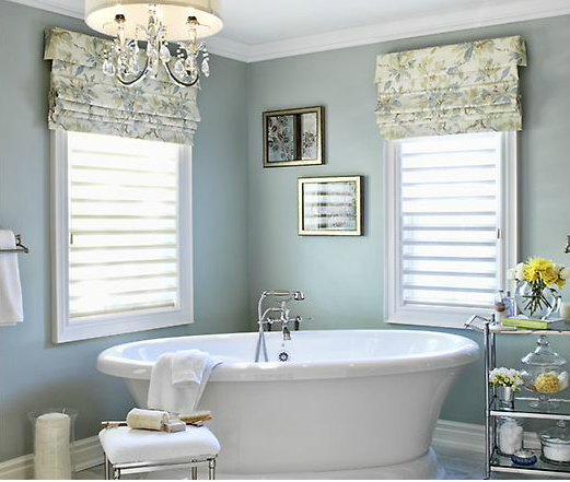 Soothing Bathroom Color Schemes: Main St Project Designed By Jennifer Brouwer Design. Soothing Bathroom, With A Freestanding Tub