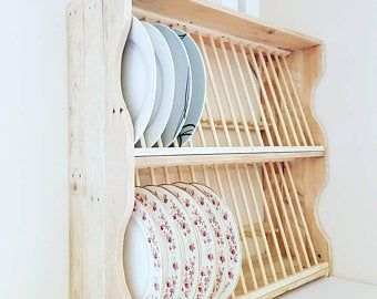 Plate rack, kitchen plate rack, plate storage, wooden plate rack
