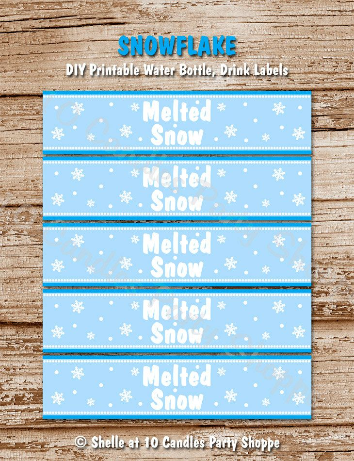 Snowflake Water Bottle Labels Diy Printable Winter Onederland