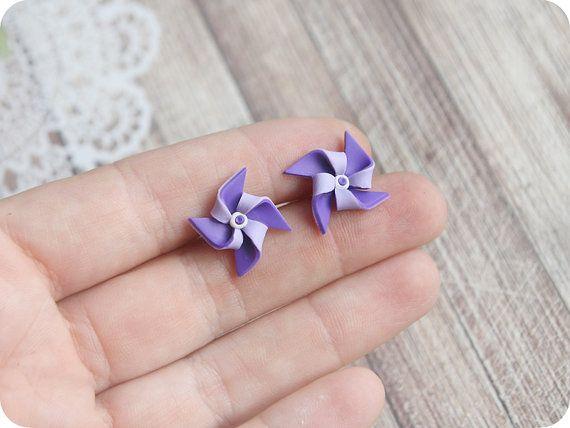 Purple Summer Earrings Pinwheel lilac Jewelry Whirligig Cute Stud Earrings for sensitive ears Windmill Jewelry origami gift best friend