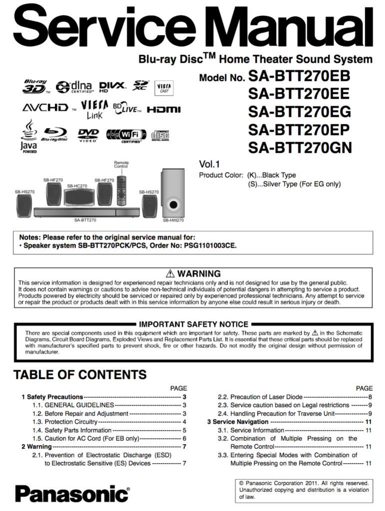 Panasonic SA-BTT270 Service Manual Manual, Textbook
