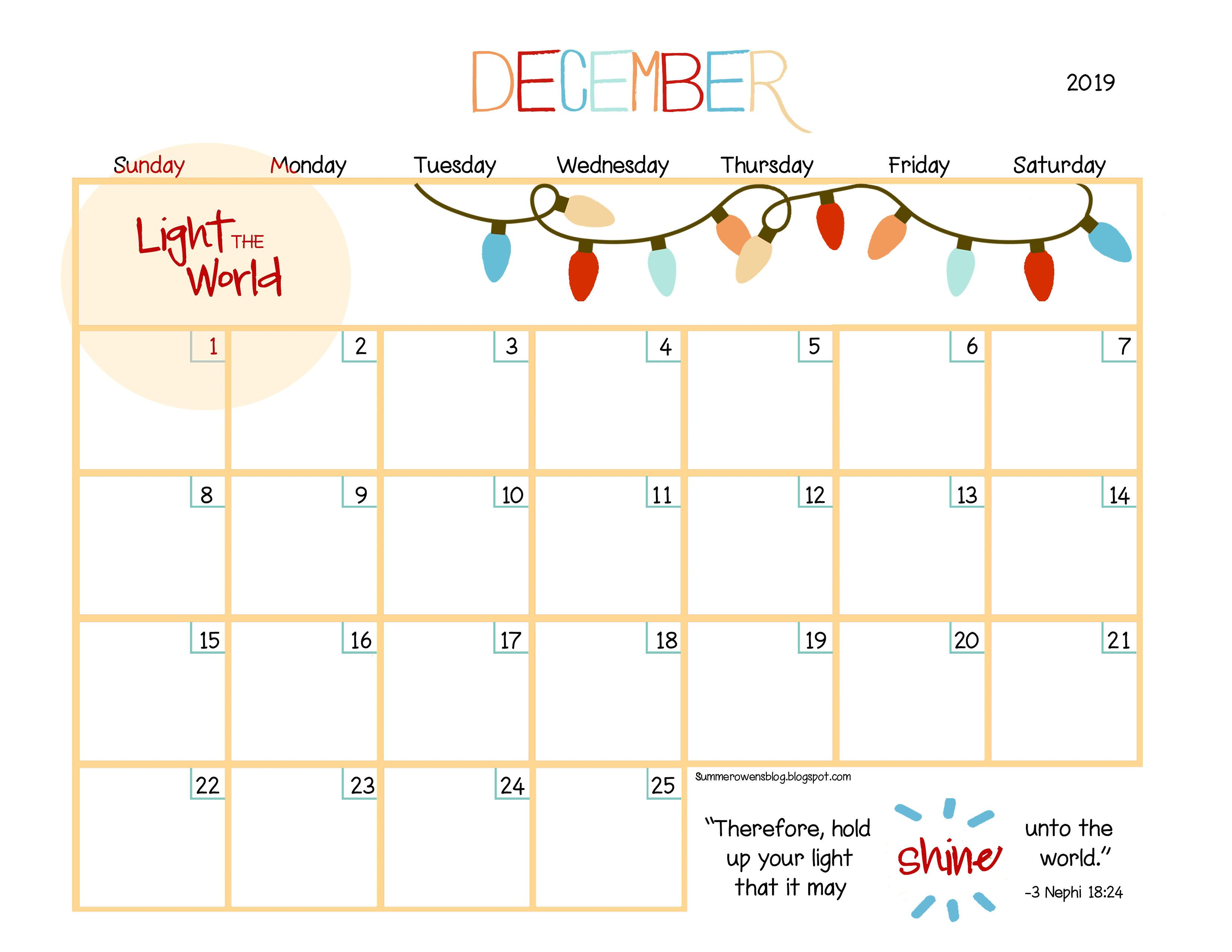 Light the World One by One December 2019 Customizable Calendar