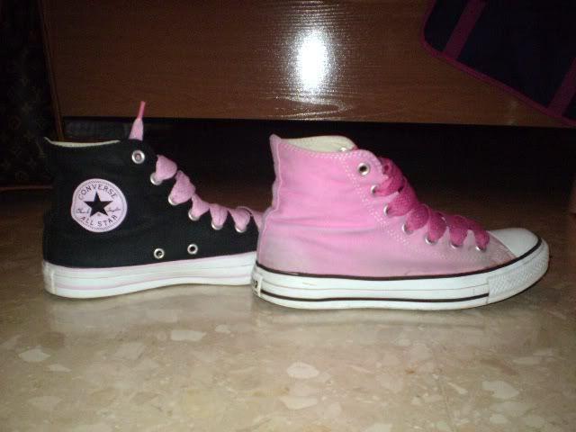zapatillas converse negras con rosado