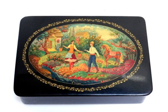Handmade Russian Lacquer Miniature Box,Kholuy Art Painting School Jewelry Box Papier Mache Hand Painted Fairy Tale Ludmila
