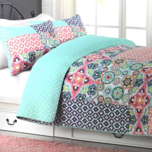 cynthia rowley patchwork queen quilt 3pc set polka dot pink purple