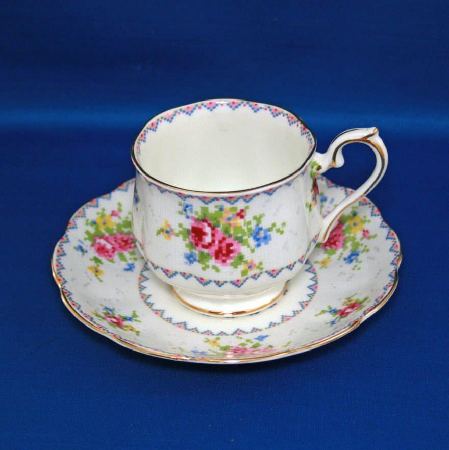 Vintage Royal Albert Petit Point Teacup & Saucer Bone China