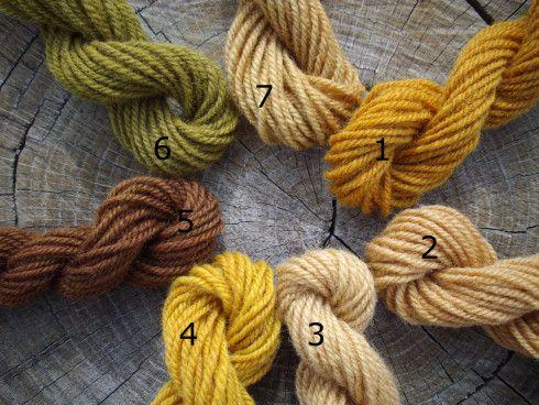 Teñir con pieles de cebolla (amarillas y rojas). Diferentes resultados, según el tipo de cebolla y el mordiente. Muy interesante!