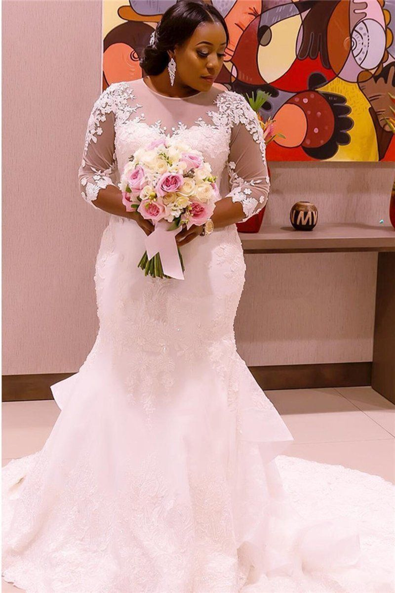 Plus Size Wedding Dress With Sleeves Elegant Lace Appliques Crystal ...
