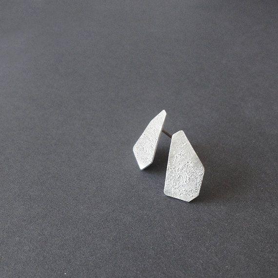 Geometric Stud Earrings Sterling Silver Stud Earrings by RawObjekt