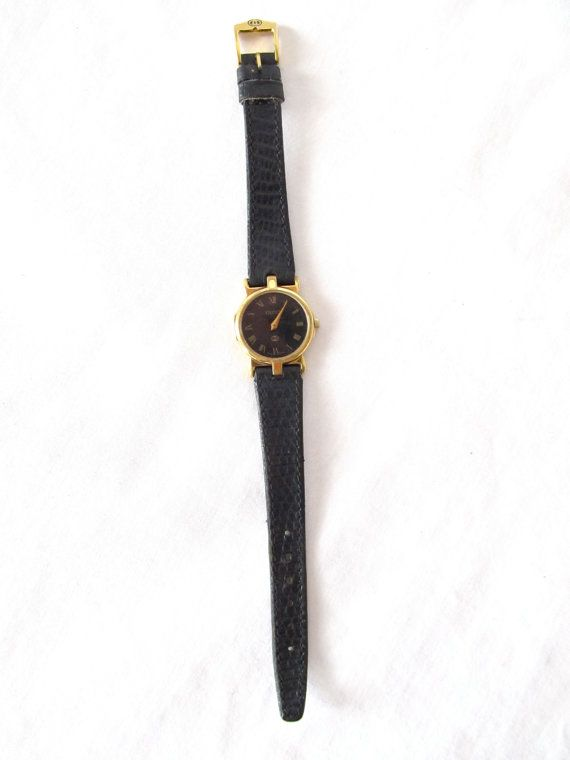 34d27a979 Vintage+Gucci+Watch+.+80s+Black+&+Gold+Women's+by+GinnyandHarriot,+$198.00