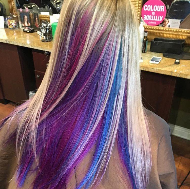Hot Pink Purple And Blue Peekaboo Highlights Brightcolors