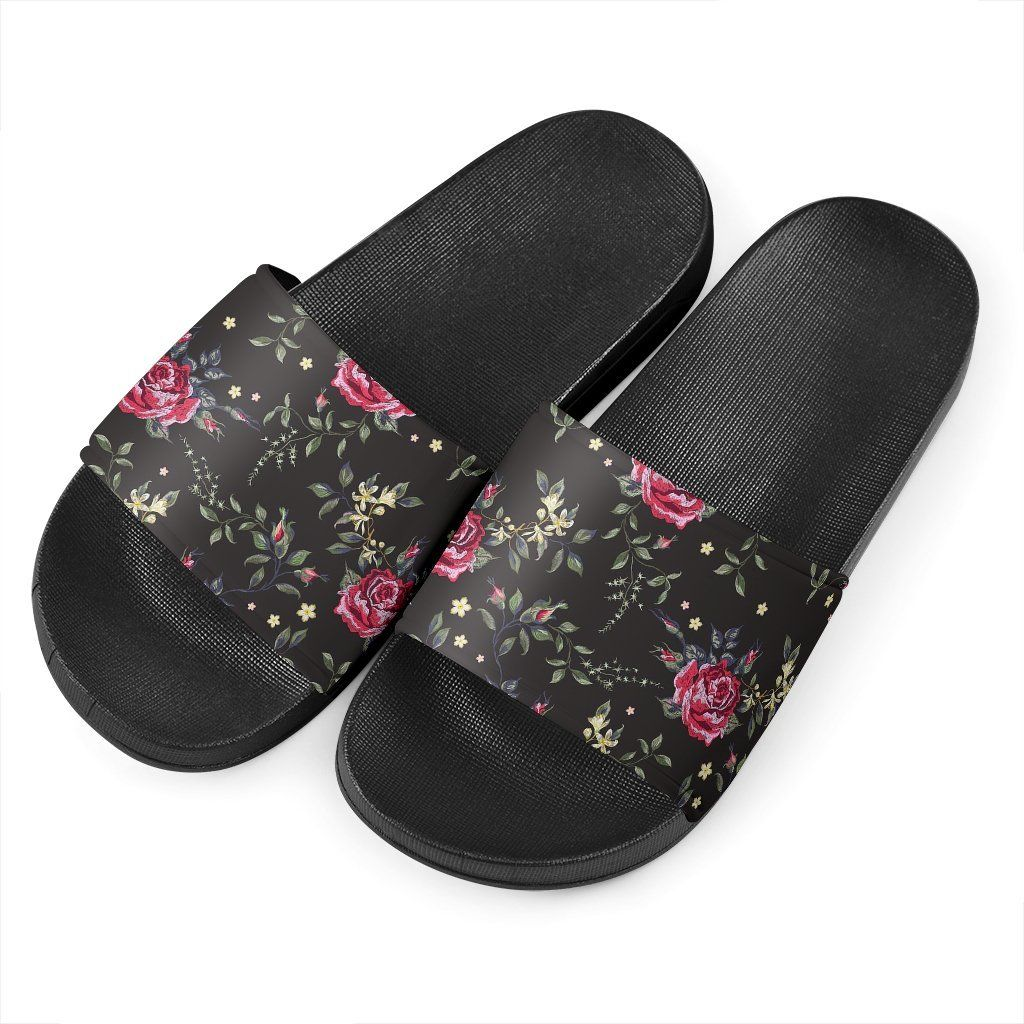 Red Rose Floral Pattern Print Black Slide Sandals