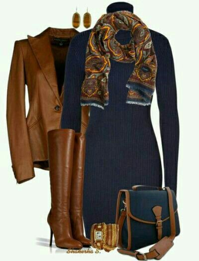 Brown And Navy Blue Fashion Cozy Fall Outfits Autumn Fashion