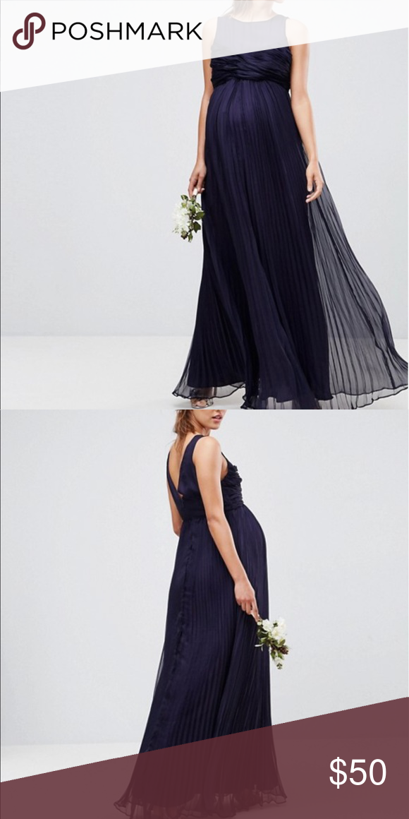 3b49a500e9e BRAND NEW WITH TAGS navy maternity dress Brand new with tags navy blue maternity  gown. Size 4. ASOS Maternity Dresses Wedding