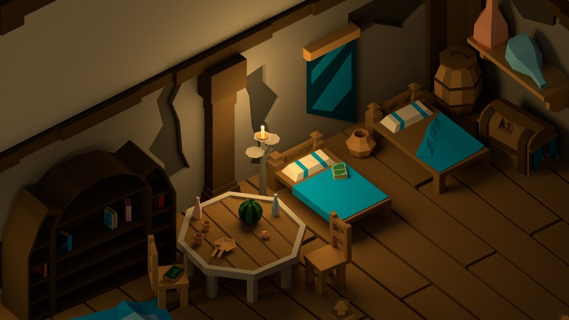 Medieval Interior Pack Low Poly Cartoon Pack 3d Model With