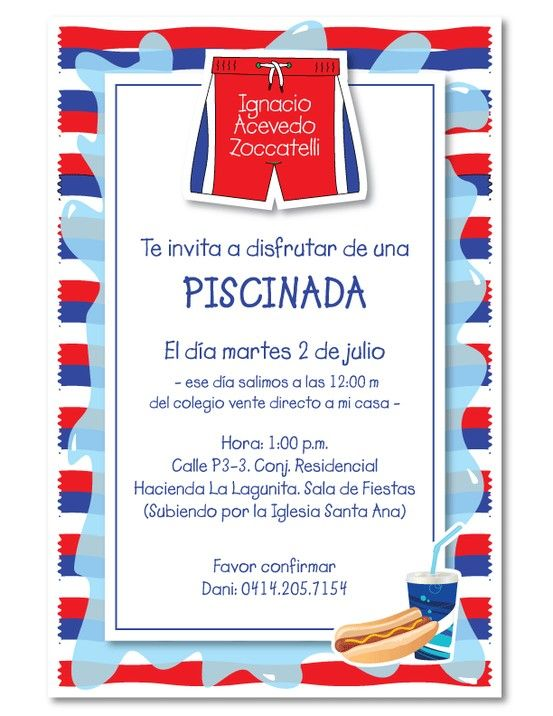 Invitacion Para La Fiesta De Piscina De 8 Años