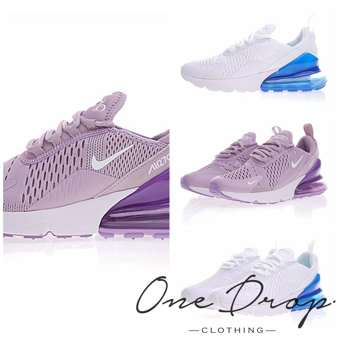Nike Air Max 270 Women's Running Shoes ,Purple White, Shock Absorption  Non-slip