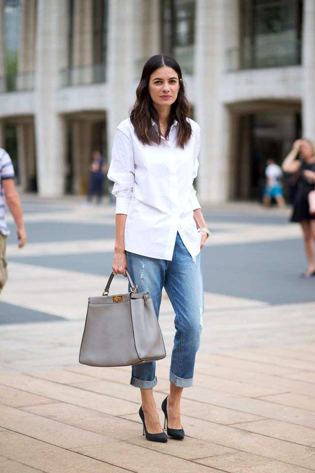 Le Fashion Blog -- NYFW Street Style: Leila Yavari A White Button Down Shirt, Grey Fendi Peekaboo Bag, Boyfriend Jeans And Heels -- Via Harpers Bazaar -- #lefashion