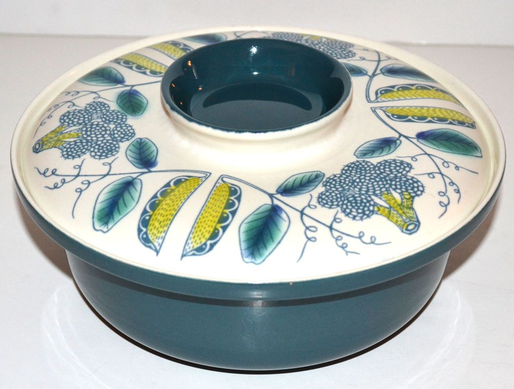 Mid-Century Modern two-piece casserole dish made by Poole Pottery of England.