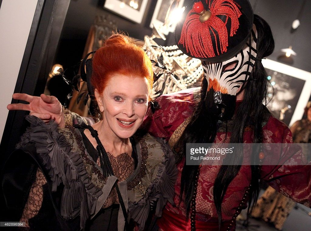 Artist/philanthropist Valerie Von Sobel (L) attends Valerie Von Sobel's 1st exhibition and private dinner at Voila! Gallery on February 6, 2015 in Los Angeles, California.