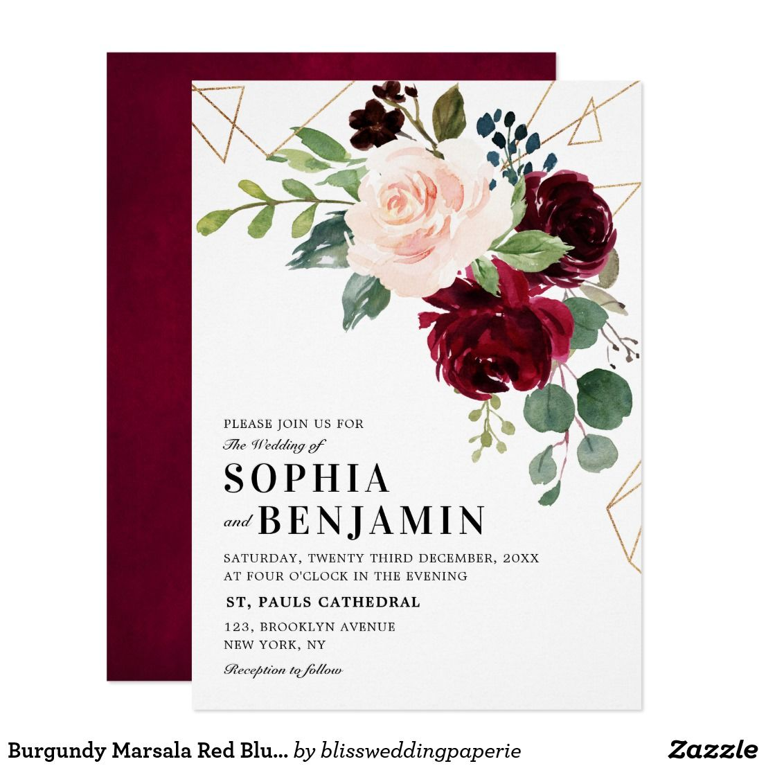 Red And Pink Wedding Invitations: Burgundy Marsala Red Blush Rose Geometric Floral
