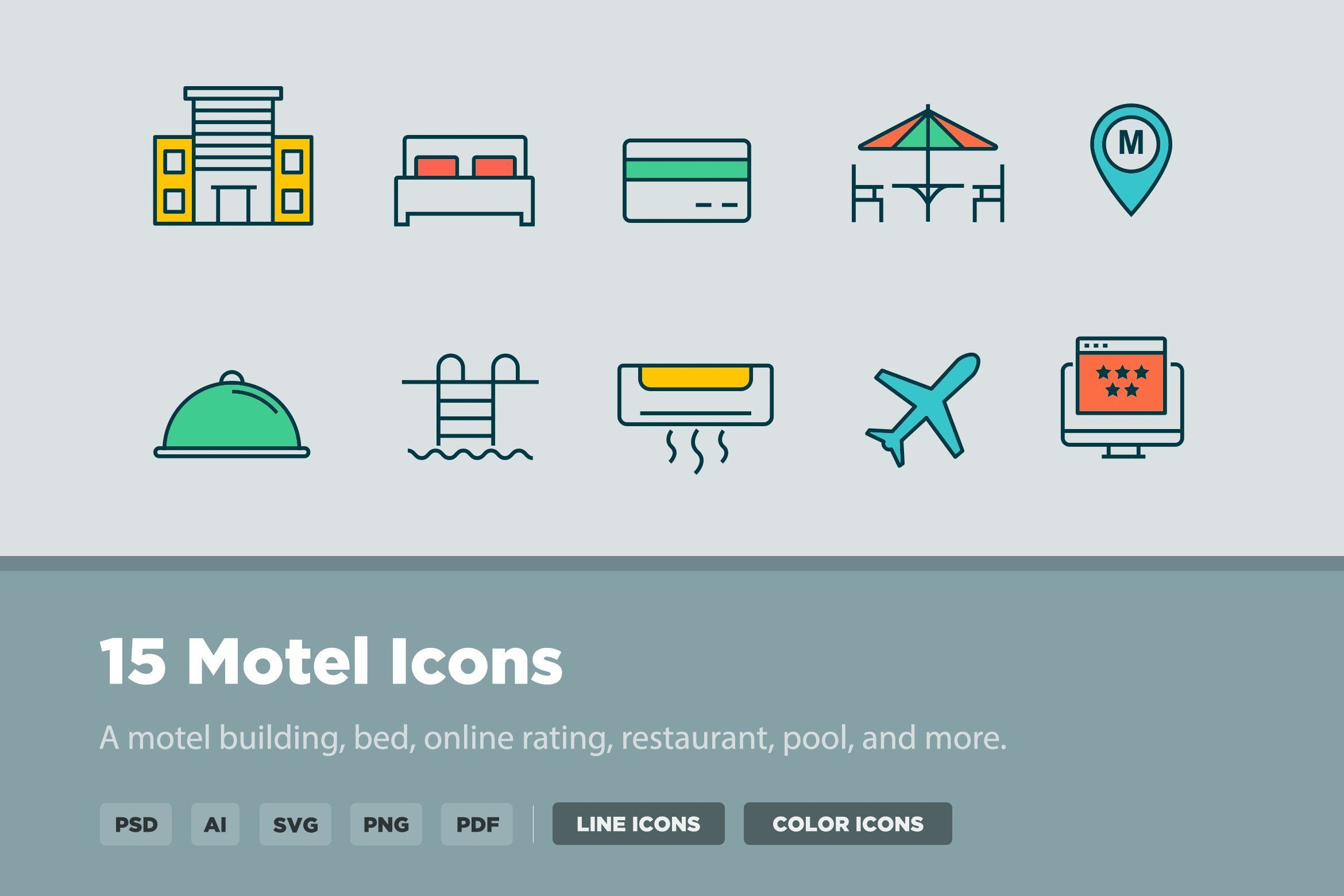 15 Motel Icons Icon, Heating and air conditioning
